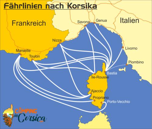 Übersichtskarte über alle Strecken der Fähren nach Korsika