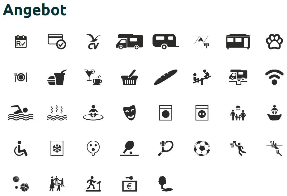 Erklärung der Camping-Icons
